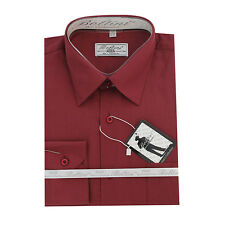 Solid Mens Dress Shirt French Convertible Cuff Boltini Italy - Burgundy