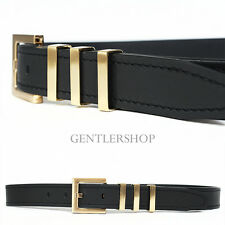 Men's Fashion Triple Gold-Plating Buckle Black Leather Belt, GENTLERSHOP