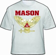Masonic Shirt Scottish Rite White 32nd Degree Freemason. Wings UP Double Eagle