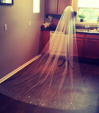 1T ivory/white Wedding Bridal Veil Bridal Cathedral With comb Beaded veil