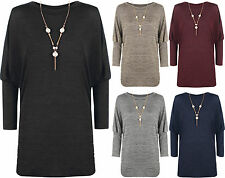 New Plus Size Womens Baggy Knitted Long Batwing Sleeve Gold Necklace Ladies Top