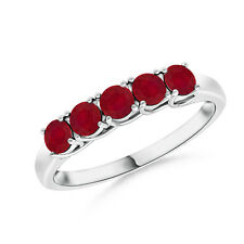 Five Stone Round Natural Ruby Women's Wedding Band 14k White Gold Ring Size 6