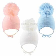 Baby Hat Boys Girls Large Pom Pom Bobble Chin Tie Winter Knitted Warm 0-3 3-6 M