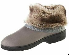 isotoner Ash Gray Microsuede Memory Foam Low Boot Slippers 03334BASH