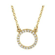 Genuine 1/10 ctw Diamonds Circle Pendant Necklace 14K Yellow, Rose or White Gold
