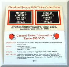 CLEVELAND BROWNS 1978  TICKET ORDER FORM NEW YORK GIANTS & DETROIT LIONS