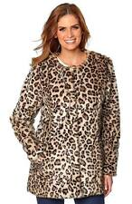 WOMANS LADIES SEXY WINTER LEOPARD PRINT FAUX FUR JACKET COAT SIZE 8 10 12 14 16