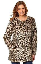 Size 8-16 UK Ladies womans sexy leopard print faux fur winter jacket coat