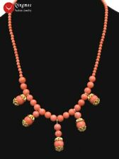 "SALE Beautiful! 4-10mm Round 5pcs pendants pink natural coral 17"" Necklace-n5892"