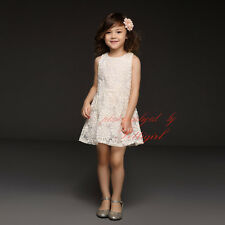 Baby Girl Cream Lace Flower Princess Dress Toddler Kids Summer Holiday Dresses