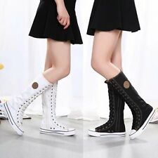 Women Girl's PUNK EMO GOTHIC Shoes Sneaker Zip Lace Up Canvas Boots Knee High