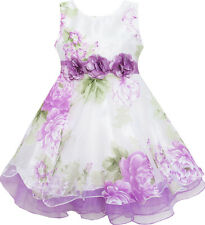 US Seller Girls Dress Tulle Bridal Lace with Flower Detailing Purple Size 4-14