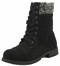 Wild Diva Girl's Tianna Faux Suede Lace Up Knitted Cuff Combat Low Heel Mid Calf