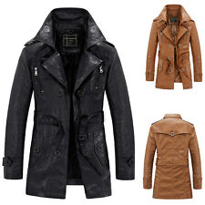 Men's Slim Trench Coat Winter Long Jacket Fleeced Polyurethane Leather Overcoat