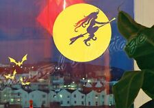 Witch & Bats in Moon Night Halloween Scary Decoration Vinyl Stickers Window Cars