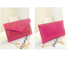 Envelope Clutch Chain Foil Floral Purse Womens Lady Handbag Shoulder Evening Bag