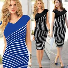 women striped long dress stitching short sleeve strip o neck slim pencil dresses