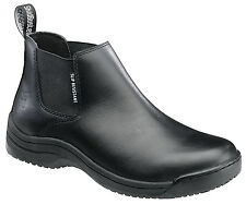 Skidbuster Mens Slip Resistant Chukka Slip On M Black Soft Leather Boots