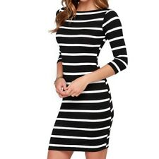 Women Sexy Slimming Wrap Clothing Casual Striped Bodycon Party Dress
