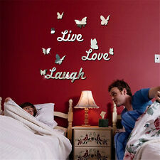Butterfly Mirror Effect Wall Sticker Acrylic Room Decor Removable Vinyl Art