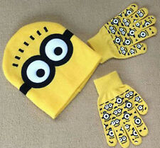 "NEW Despicable Me ""MINION"" Winter Beanie Hat and Gloves Set Yellow 3-12 Years GS"