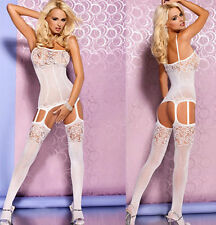 Women's Sexy All-in-One Fine Mesh & Lace Patterned Opaque Suspender Bodystocking
