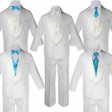 Baby Teen White Satin Shawl Lapel Suits Tuxedo AQUA BLUE Satin Bow Necktie Vest