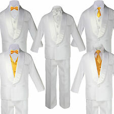 Baby Boy Teen White Satin Shawl Lapel Suits Tuxedo YELLOW Satin Bow Necktie Vest