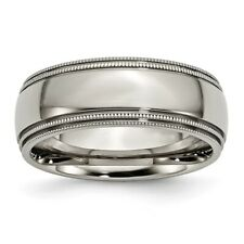 Chisel 8mm Polished Titanium Twin Grooved And Beaded Edge Band Size 8 to 13