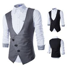 New Mens Modern Slim Fit Sleeveless Fashion Dress Vest  Casual Solid Suit Vest