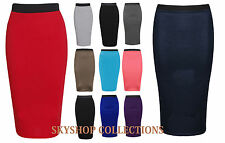 Womens New Stretch Ladies Wiggle Pencil Tube Bodycon Plain Office Midi Skirt wgl