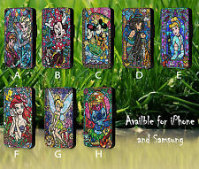 Cross Stitch Pattern Disney Stained Glass Leather Flip Phone Case Cover L563