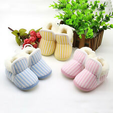 1 Pair Hot Boy Girl Cotton Shoes Baby Warm Newborn Striped Winter New Toddler
