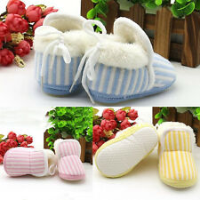 1 Pair Newborn Baby Girl New 2016 Warm Toddler Cotton Shoes Boy Winter Striped