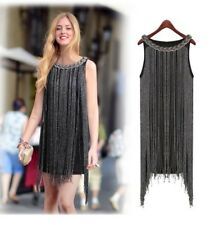 Great Gatsby Ombre Metal Halterneck Fringe Beaded 1920s Flapper Charleston Dress
