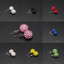 Shamballa Earrings Balls Clay beads with rhinestones Silver plated 1 Pair