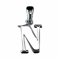 "Initial Charm ""N"" 925 Sterling Silver, 0.5"" also on box bracelet or chain Gift"