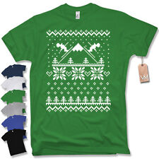 T-Shirt - SKI PRINT - Fun Santa Claus Christmas Knitted pattern Sz S M L XL XXL