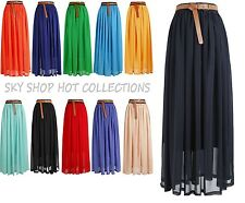 NEW WOMEN LADIES ELASTIC WAIST BAND PLEATED CHIFFON LONG MAXI SKIRT-UK Seller