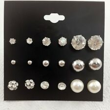 9 pairs lot Women faux Pearl Jewelry Bead Crystal Stud Earrings Set Girls Fashio