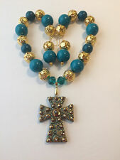 Turquoise & Gold Tone Chunky Bubblegum Bead Western Necklace Set Cross Pendant