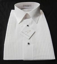 New Mens Neil Allyn White Laydown Collar Pleated Tuxedo Shirt L