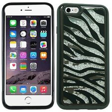 Black Silver Zebra Bling Rhinestone Crystal Shaker Case Cover Diamond For Apple