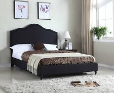 King Queen Twin Full Size Black Platform Bed Frame Upholstered Headboard Slats