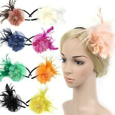 Women Feather Fascinator Flower Veil Hat Hairband Wedding Party Costume