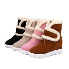 NEW Women's Winter Snow Boots Suede Heighten Shoes Warm Comfort Velcro Moccasins