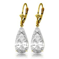 Natural White Topaz 10 ctw Pear Gems Leverback Dangle Earrings in 14K Solid Gold