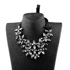 Vintage Crystal Flower Statement Necklace Chunky Bubble Bib Collar-White/Black