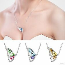 Hot Sale Butterfly Wing Crystal Rhinestone Pendant Silver Plated Necklace Gift