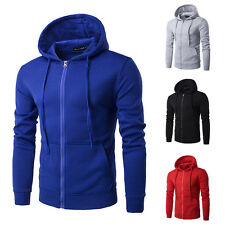 Men's Stylish Sweat Solid Color Zipper Drawstring Hooded Coats Hoodies Jackets